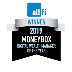 Altfi award winner badge for digital wealth manager of the year 2019